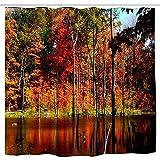 RP Amazing Decoración de Cortina de Ducha Autumn On Concord Pond Impermeable con 12 Ganchos