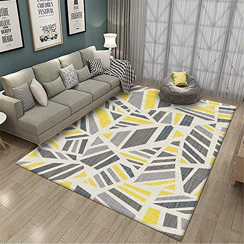 Kunsen alfombras alargadas Alfombra Infantil niña Alfombra Gris Amarilla Rectangular Moderno Antideslizante Ambiente alfombras Grandes 50X80CM 1ft 7.7' X2ft 7.5'