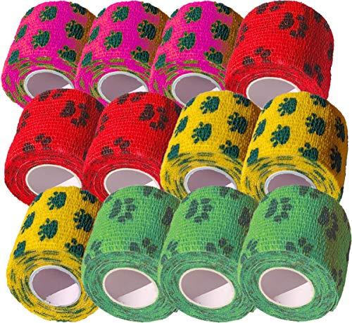 Biluer Samoprzylepny bandaż, 12 rolek taśmy klejącej, elastyczna wiązanie, bandaż pierwszej pomocy 5 cm x 4,5 m, do wspomagania uprawiania sportu, nadgarstków, kostek, palców (zielony, różowy, żółty, czerwony)