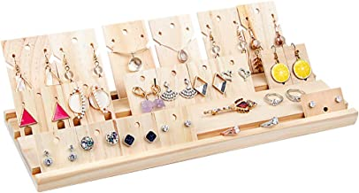DesignSter Wooden Jewelry Display Set - 20PCS Combined Rustic Earring Organizer Boards Necklace Pendant Ring Showcase Holder for Shows for Shop, Countertop