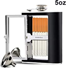 Sunnyac Stainless Steel Hip Flask, Leak-proof Hidden Flask with Cigarette Case and Leather Wrapped Cover, Including a Funnel and White Box, Black (5 Ounce)