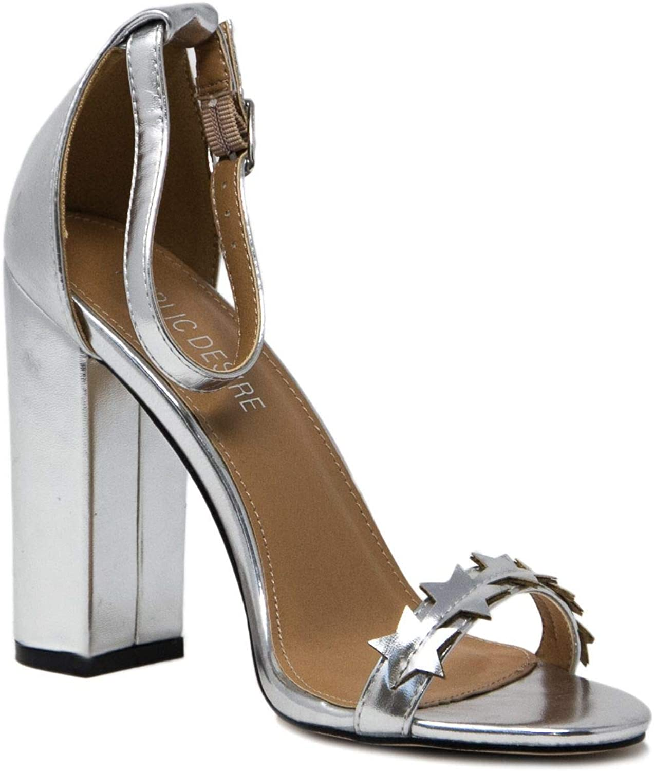 PUBLIC DESIRE Women's STARDUSTSILVER Silver Faux Leather Sandals
