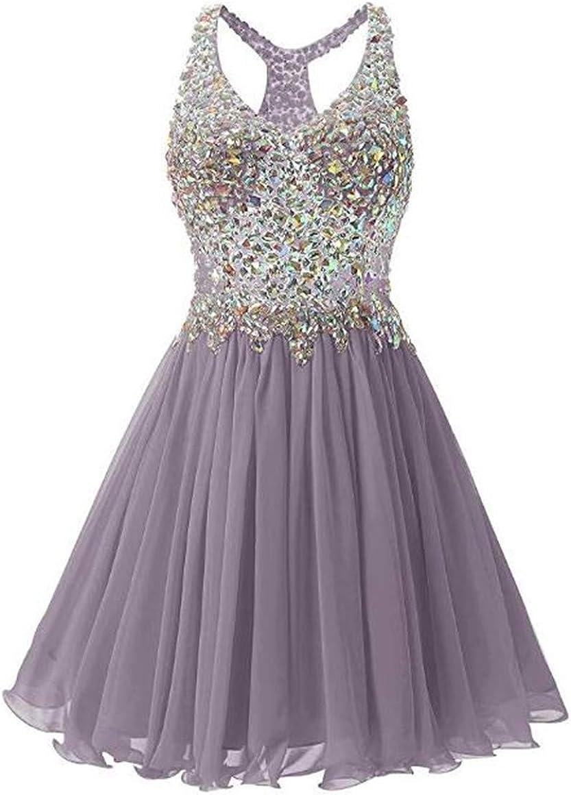 Emmani Women's Chiffon Bead Party Dress Mini Short Bridesmaid Homecoming Dress