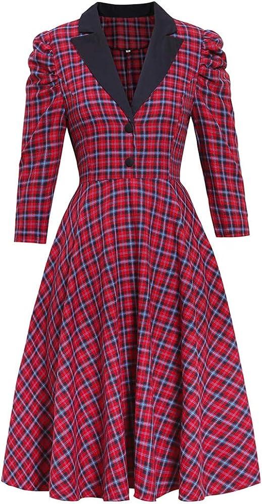Women's Lapel Sheepsleg Sleeve Suit Style Plaid Big Swing Retro Winter Winter Christmas Dress