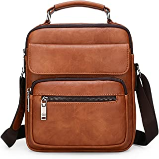 "JEEP BULUO Leather Crossbody Handbag Daypack For 9.7"" iPad Shoulder Messenger Bag For Men"