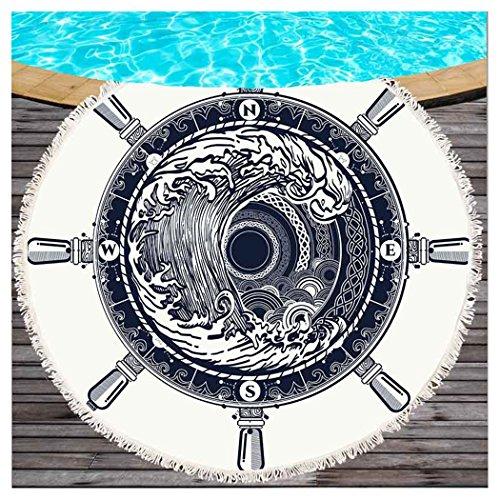 Kanagawa Ronde strandworp met kwasten, bohemisch roer, kompas voor op het strand, met franjes, strand, mandala, strand, sjaal, bikini, wrap, yogamat