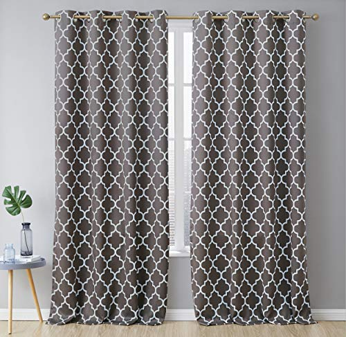 HLC.ME Lattice Print Decorative Blackout Heavy Thermal Insulated Privacy Room Darkening Grommet Extra Long Window Drapes Grommet Curtain Panels for Bedroom - Grey - 52 W x 108 Inch Long - Set of 2