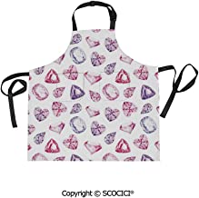 SCOCICI Men Woman Kitchen Printed Apron with Adjustable Neck 2 Side Pockets,Amethyst Heart and Triangle Shaped Diamonds Hanging Prints Art Decorative,for Cooking Baking Gardening