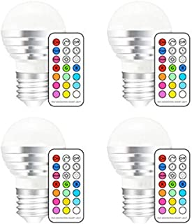SGJFZD Color Changing LED Light Bulb with Remote Control 3W E26 Dimmable RGB LED Light Bulbs