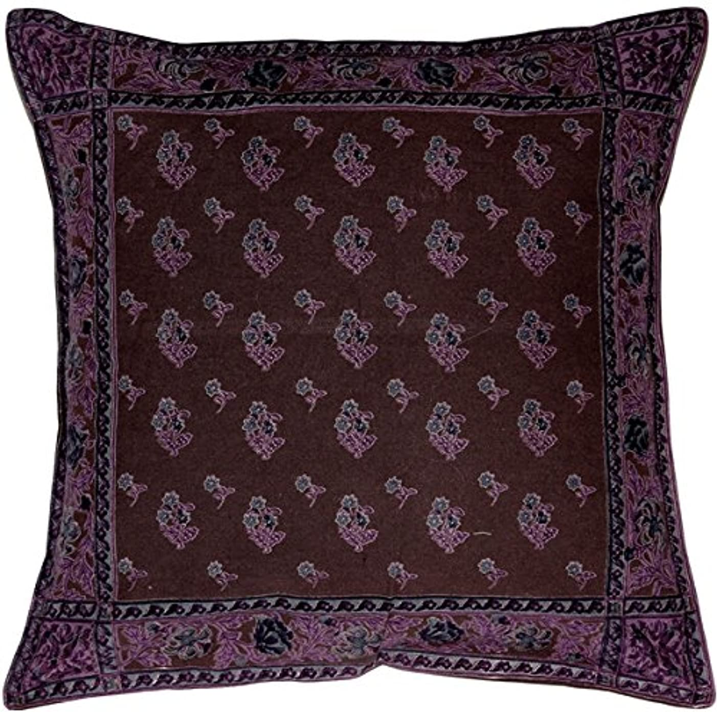 出口サリー何枕装飾サマセットDownsパープルコットンスロー枕16?x 16