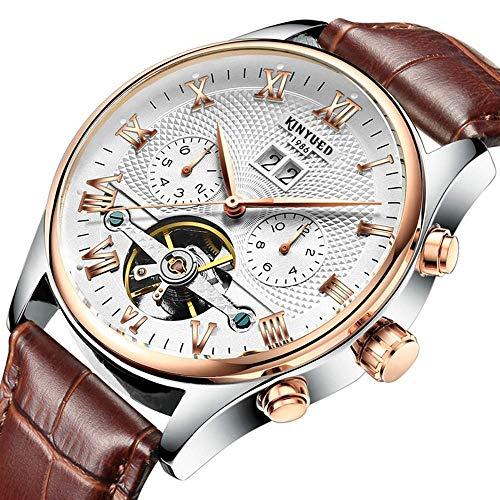 AYDQC Reloj de los Hombres Completamente automático Tourbillon Acero Inoxidable Reloj mecánico Impermeable fengong (Color : White)
