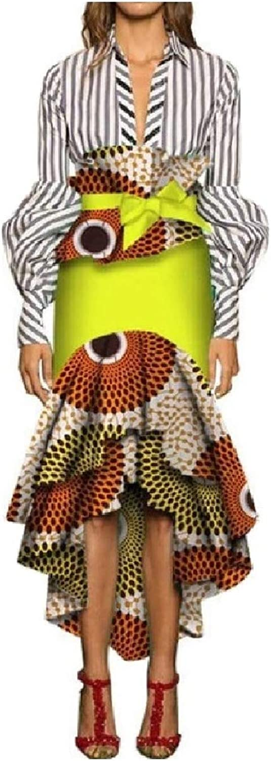 Coolhere Womens Flounced High Waisted Pencil African Style Fine Cotton Skirt