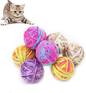 Patgoal 6 Pack Interactive Ball Toy, Pet Cat Toys Ball of Yarn with Bells for Pet Training Playing Chewing Random Color