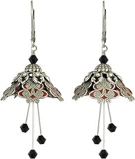 NoMonet Hand Painted Flower Fairy Earrings - Spellbinder Earrings - Silver, Red and Black
