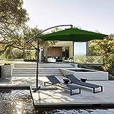 Hengda Für Garten, Terrasse, Loggia, Balkon, Camping-Platz, Pool, Planschbecken 3.0m Grün Sonnenschirm Garten Schirm Marktschirm Ampelschirm Kurbel Schirm