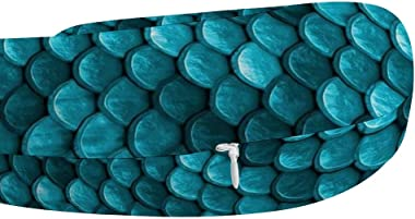 NiYoung Breathable Comfortable Beautiful Marine Blue Teal Mermaid Fish Scales Neck Pillow Soft Memory Foam U Shaped Travel Pi