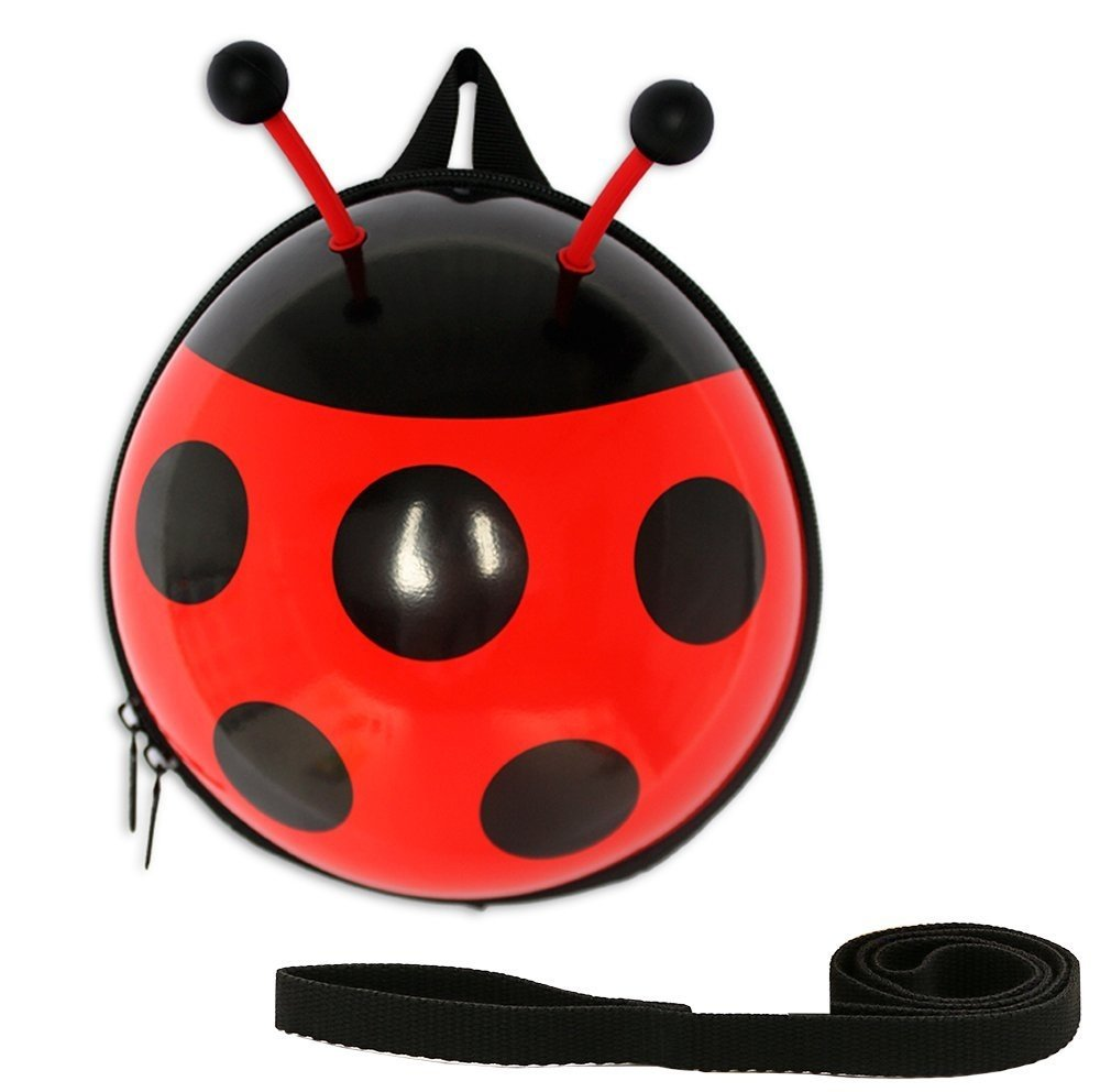 Toddler Safety Harness Backpack with Child Leash The Lady Bug for 1-4Y girls and boys (Red)