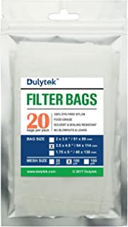 Dulytek Filter Bags, 2.5 x 4.5 inches, 100 Micron, 20 Pcs, Nylon Screen