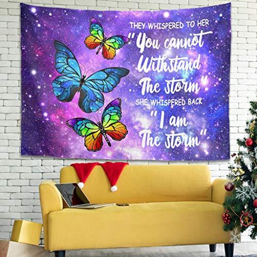OwlOwlfan Tapiz de pared con diseño de mariposas, cómodo para colgar en la pared, para decoración del hogar, color blanco 149 x 149 cm