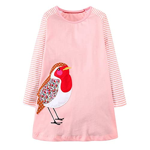 4f0692e845 IsabelaKids Girls Cotton Long Sleeve Casual Cartoon Appliques Striped  Jersey Dresses
