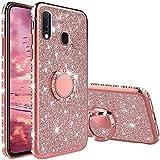 XTCASE Funda para Samsung Galaxy A20S Glitter, Diamante Brillo Carcasa 360 Grados Soporte Anillo Giratorio Resistente de Gel Silicona TPU Anti-Rasguños Bling Cover - Rosa