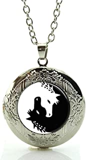DianaL Boutique Yin Yang Feng Shui Horse Locket Pendant Necklace Black and White Glass Cabochon Art Picture Jewelry