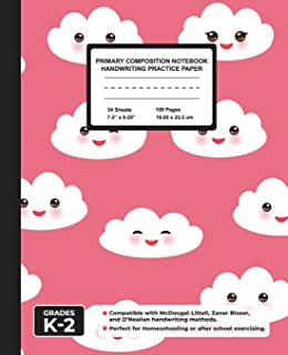 Primary Composition Notebook Handwriting Practice Paper: Kawaii Clouds Blank Writing Sheets for Kindergarten to 2nd Grade ...