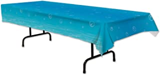 Beistle Under The Sea Tablecover, 54 by 108-Inch, Light Blue/White