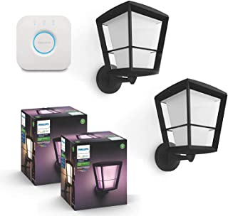 Philips Hue Econic Outdoor White & Color Wall Lantern, Up (Hue Hub Required, Smart Light Compatible with Alexa, Apple Homekit & Google Assistant) (2-Pack) + Philips Hue Hub Smart Bridge
