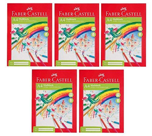 Faber-Castell 212049-5 Malblock DIN A4, FSC-Mix, 100 Blatt, 5 Blöcke