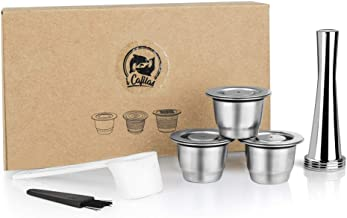 Stainless Steel Refillable Coffee Espresso Capsules, Reusable Coffee Pods Compatible with Nespresso Original Line Brewers ...