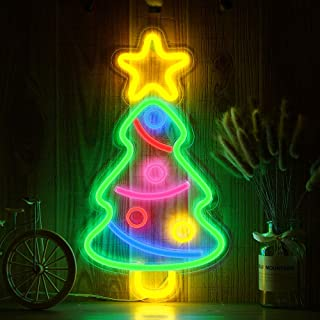 OYE HOYE Decorative LED Xmas Tree Shaped Neon Sign Light, Wall Decor Art Neon Sign for Home Decoration,Bedroom, Lounge, Office, Wedding, Christmas, Valentine's Day Party Operated by USB(Xmas Tree)