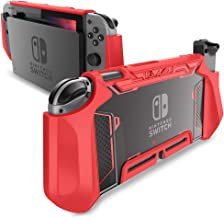 Dockable Case for Nintendo Switch - Mumba TPU Grip Protective Cover Case Compatible with Nintendo Switch Console and Joy-Con Controller (Red)