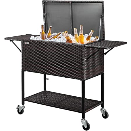 VINGLI 80 Quart Rattan Rolling Cart, Portable Wicker Cooler Trolley, Beverage Bar for Patio Pool Party, Ice Chest with Shelf,Mix Brown