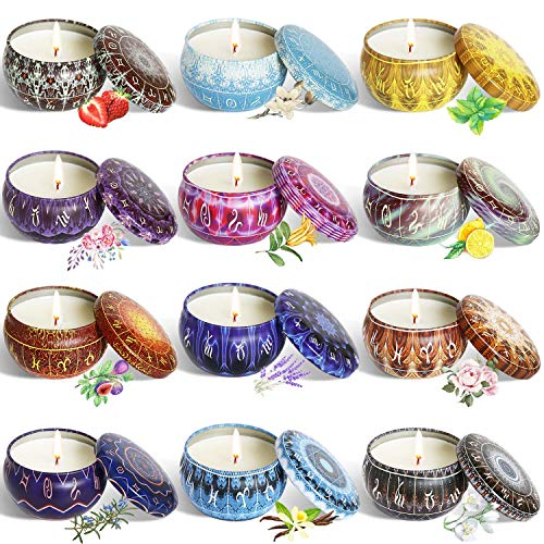 YYCH Scented Candles Soy Wax Tin Candles, Aromatherapy Candles Set of 12.