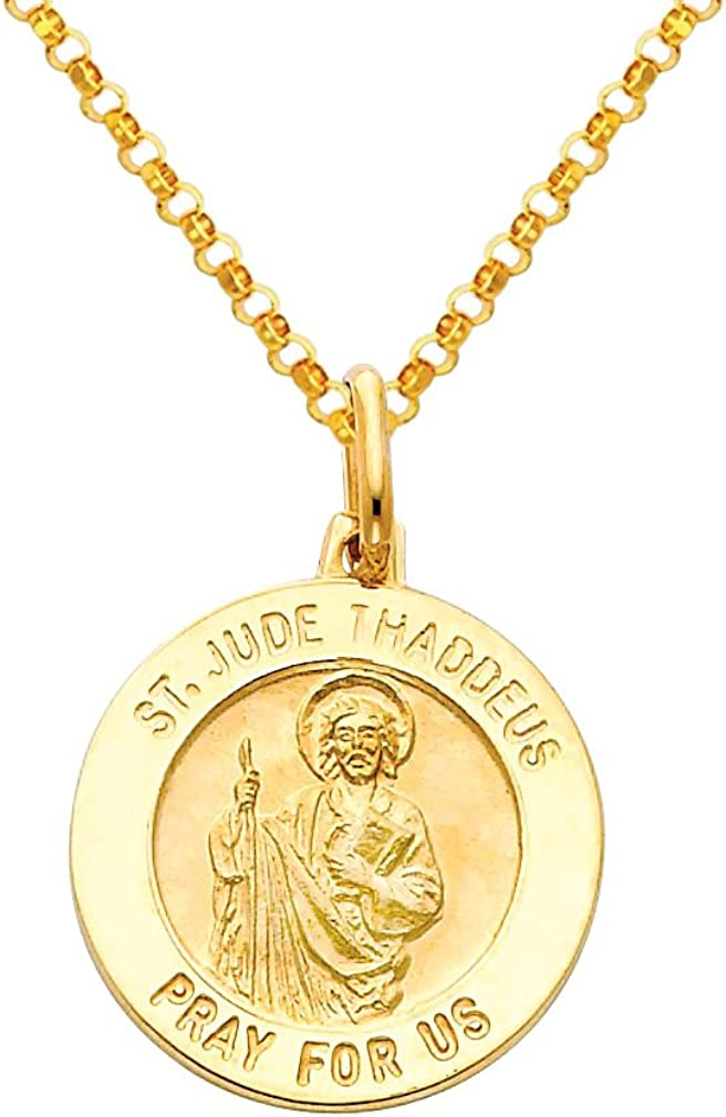 The World Jewelry Center 14k Yellow Gold Religious Saint Jude Thaddeus Medal Pendant with 1.6mm Cable Chain Necklace