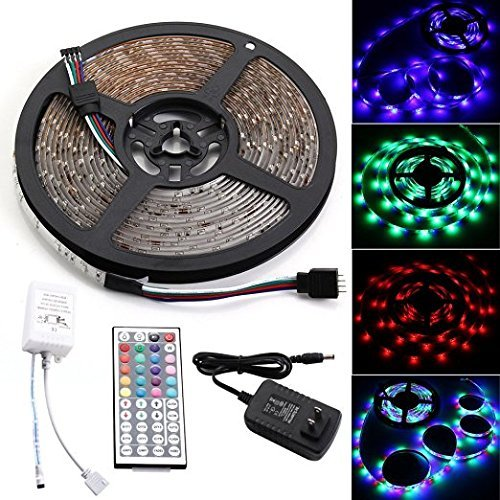 Leadpo Waterproof Led Strip, 16.4ft 5M SMD 3528 RGB IP65 Waterproof Flexible Strip 300 LEDs Color Changing RGB Light Strip Kit 5M White PCB DC12V + 44Key Remote + 12V 2A US Adapter (SMD3528, RGB)