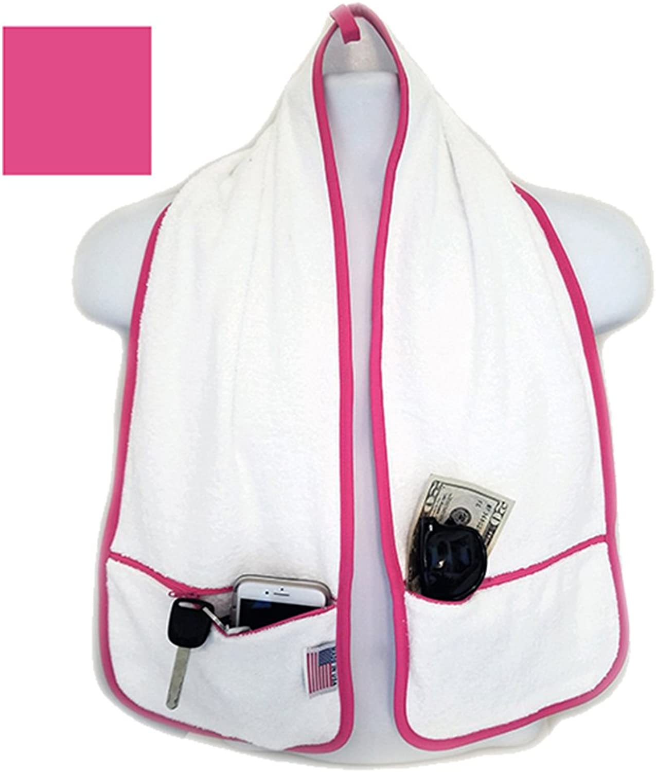 R J Hall Sports Towel  2 Zipper Pockets Holds Belongings Safe While You Exercise, Workout, Yoga Class, Fitness Training at The Gym or a Walk on The Beach 100% Cotton Loops Super Soft and Absorbent