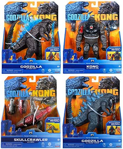 Godzilla vs. Kong 2021 Bundle of 4 Monsterverse Movie Series 6' Action Figures: Godzilla with Heat Ray, Kong with Battle Axe, Godzilla with Radio Tower, Skull Crawler