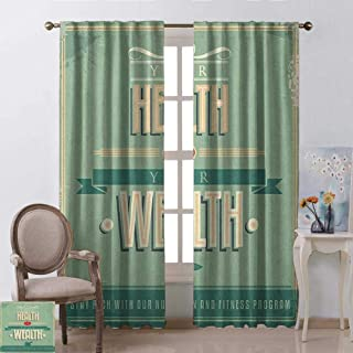 Michael Denis Fitness Heat Insulation Curtain Your Health is Your Wealth Vintage Poster Design Inspirational for Living Room or Bedroom W52 x L84 Inch Pale Green Pale Orange Tan