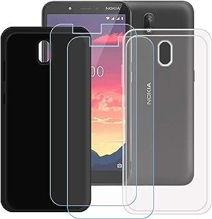 TTJ Svart + transparent fodral för Nokia C2 [2 stycken] HD pansarglas, mobiltelefonfodral silikon skyddande fodral TPU-fod...