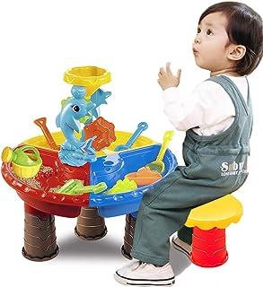 VeroMan どこでも 砂遊び 水遊び サンドテーブルセット 子供 おもちゃ 椅子付き 室内 アウトドア 海水浴 ビーチ 公園 潮干狩り (イルカ-丸型)