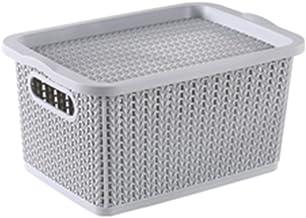 HOUZE SB-1524 Braided Storage Basket with Lid, Grey, Small