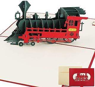 Nahuaa Tarjeta Regalo de 3D Pop-up Tren tarjeta de ...
