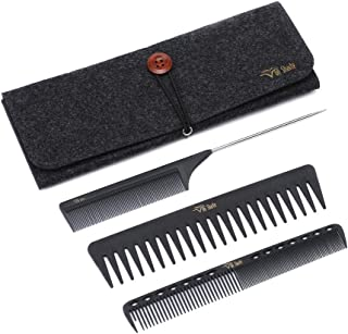 Styling Comb Set,Hairdresser Barber Comb Cutting Hair Comb Carbon Fiber Wide Tooth Comb Metal Rat Pin Tail Comb Salon 100% Anti Static 230℃ Heat Resistant(Styling Comb Set C932Z02B)