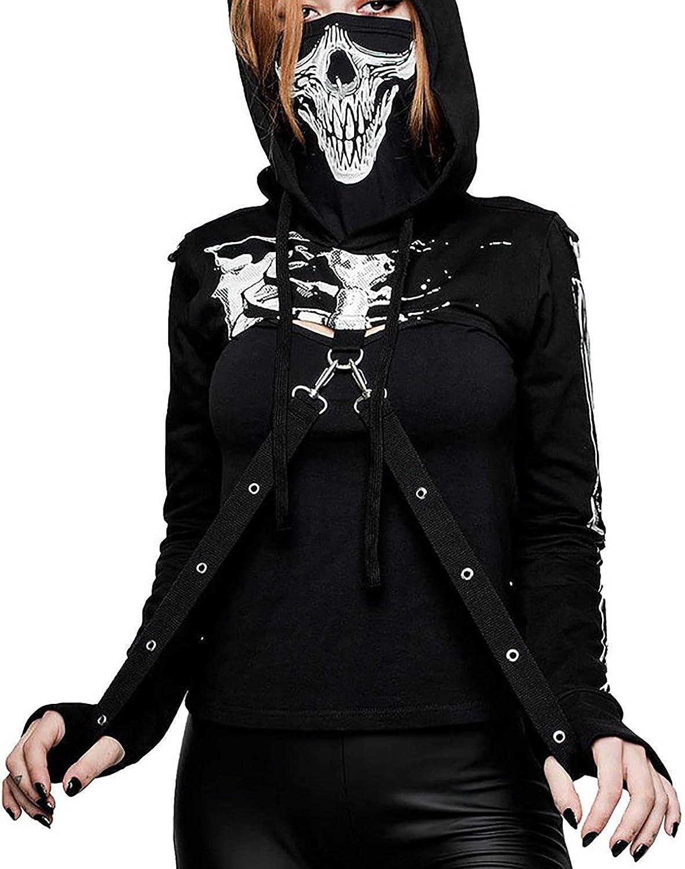 Women's Gothic Punk Hoodies Bandage Crop Tops Long Sleeve Pullover Sweatshirt Fashion Festivals Streetwear