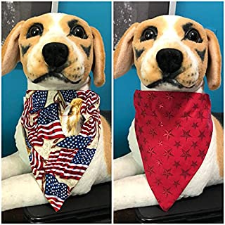 Reversible Over The Collar Pet Bandana Patriotic Red, White, Blue Flags, Eagle and Stars cats dogs slide on