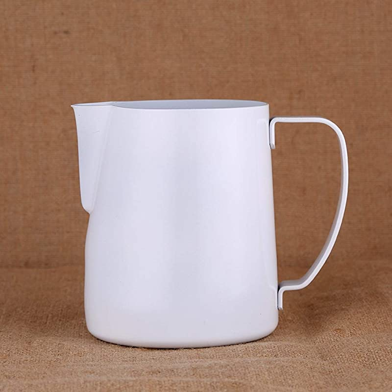 Edasw Tip Stainless Steel Milk Frothing Pitcher Pull Cup Teflon Color Pull Cup Thick Section German Standard Needle Pull Flower Cylinder Color White