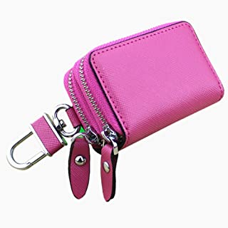 Women's Wallet Cross-Stitched Leather Key Case Popular Double-Layer Zipper Car Key Case Fashion (Color : Pink, Size : S)