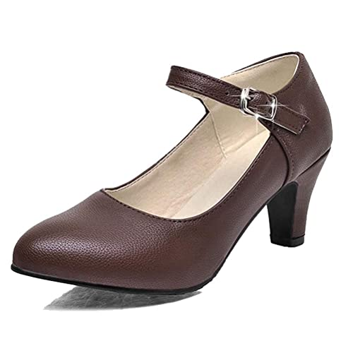 ffbe5e6934 HiTime Women s Elegant One Strap Mary Jane Princess Dance Pumps Cone Heels  OL Court Shoes Size